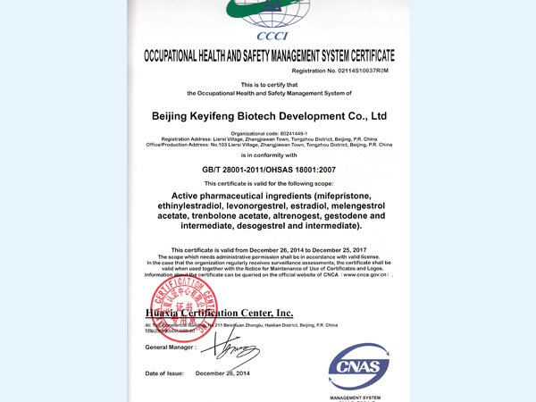 Occupational health and safety management system certification certificate (English)